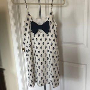 Everly blue and white chiffon shift dress (S)